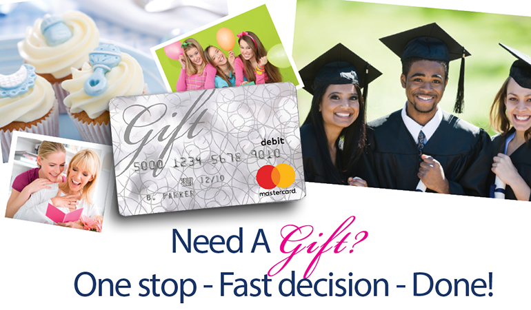 image from gift card to Image of a gift card with photos of graduation, birthdays, parties in the background