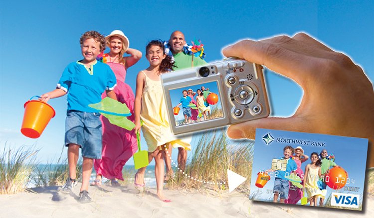 Image of a family on the beach for their debit card image