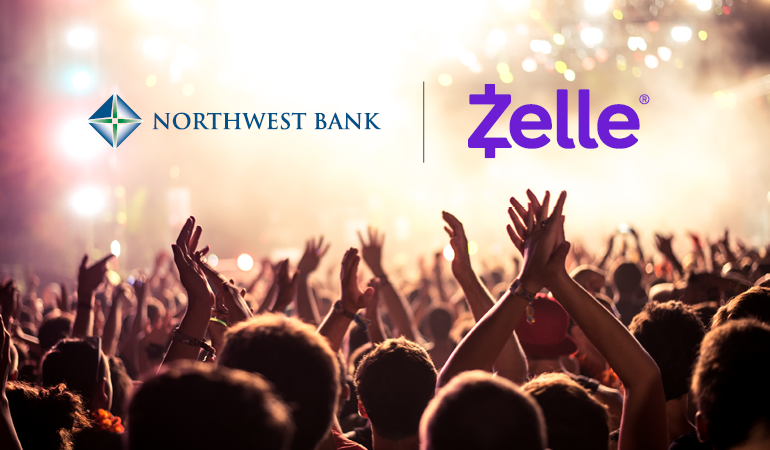 Image of people at a concert with the Zelle Logo
