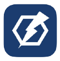 Blue square with white lightening bolt and hexagon shape logo