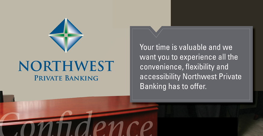 Image of a bank counter stating: Your time is valuable and we want you to experience all the convenience, flexibility, and accessibility we have to offer.